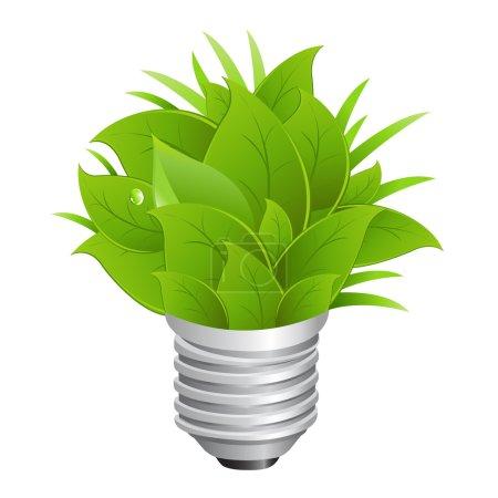 Illustration for Eco Energy Concept, Ecology Bulb, Isolated On White Background, Vector Illustration - Royalty Free Image