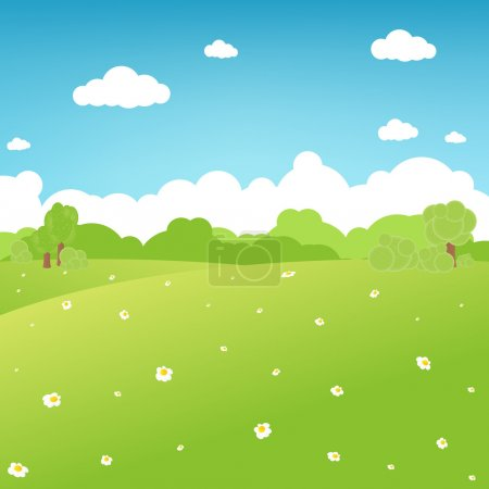 Illustration for Cartoon Landscape, Vector Illustration - Royalty Free Image