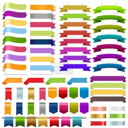Illustration for Ribbons Big Set, Isolated On White Background, Vector Illustration - Royalty Free Image