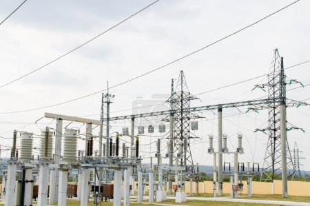 Photo for High-voltage substation with switch and breaker - Royalty Free Image
