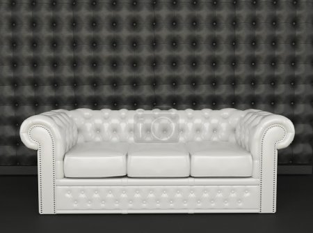 White leather sofa on a black background