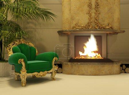 Photo pour Fauteuil royal par cheminée dans un intérieur de luxe - image libre de droit