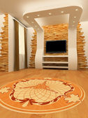 Construction of ceiling and wall with laminated flooring board