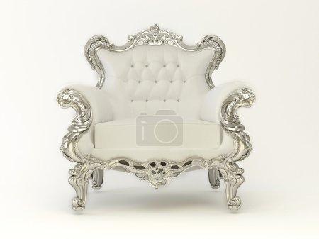 Photo pour Fauteuil moderne de luxe avec cadre argenté sur fond blanc - image libre de droit