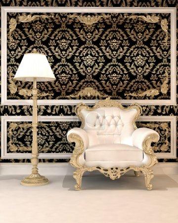 Photo pour Fauteuil en cuir et la lampe dans le contexte de roayl de fonds d'ecran - image libre de droit
