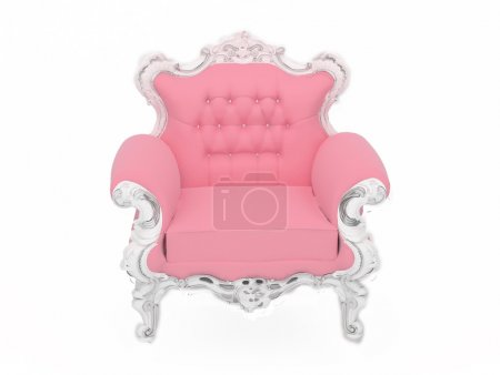 Pink doll's modern armchair isolated on white background