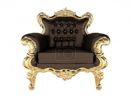Photo pour Fauteuil en cuir luxe or massif - image libre de droit