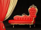 """Постер, картина, фотообои """"Королевский диван с золотой рамкой. занавес."""""""