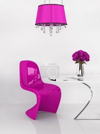 Modern pink chair in minimalism interior. Furniture. Loft. 3D Re