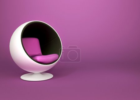Round minimalism armchair on violet background. Pop art. Art-dec