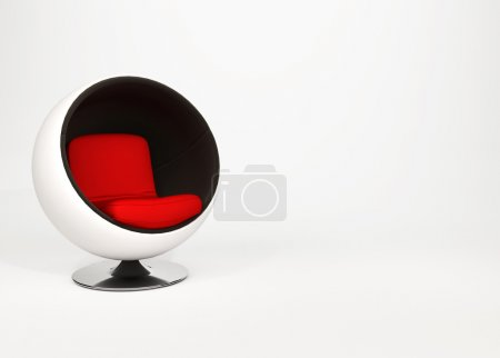Half-round armchair isolated on white background