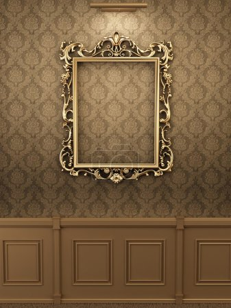 Royal golden frame on the wall in interior. Gallery