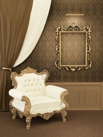 Armchair with frame in royal apartment interior. Luxurious Furni
