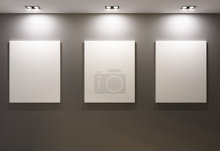 Photo for Empty frames on grey wall in gallary of museum interior - Royalty Free Image