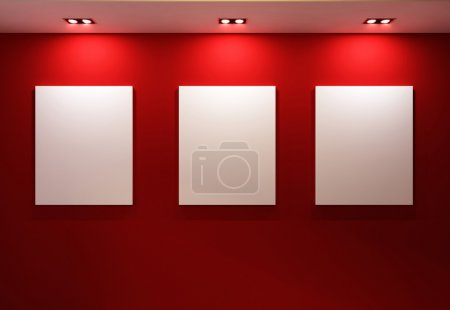 Photo for Gallery Interior with empty frames on red wall - Royalty Free Image