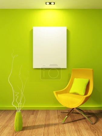 Foto de Ilustración vacía en un interior moderno. Sillón con jarrón y Gallary - Imagen libre de derechos