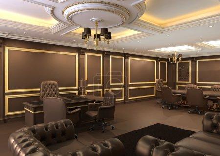Photo pour Espace bureau intérieur, appartement royal avec mobilier de luxe - image libre de droit