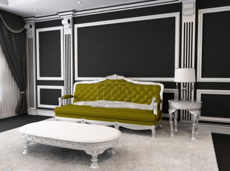 Royal Sofa and table with lamp, furry carpet in luxurious interi