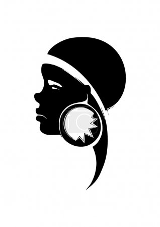 Illustration for Painted a portrait of a young African woman, with decoration in the ear - Royalty Free Image