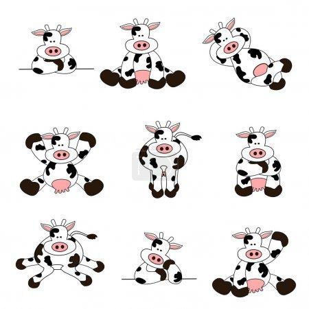 Illustration pour Ensemble de 9 illustrations de dessins animés d'une vache mignonne - image libre de droit