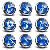 Set of medical and health related 3D icons / buttons