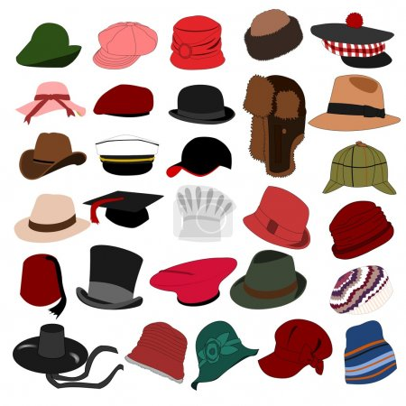 Illustration for Set of illustration of lots of different hats - Royalty Free Image