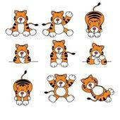 Cute Tiger Cartoon Set