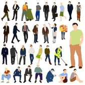 Set of illustrations of lots of men in various poses