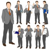 Set of illustrations of business men in various poses