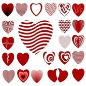 Set of illustrations of lots of different styled hearts