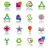 Illustration set of colourful abstract icons and symbols