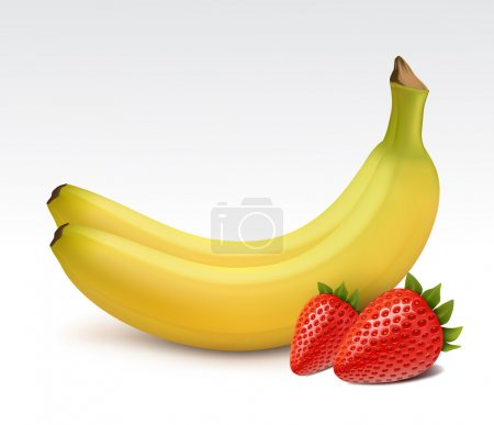 Illustration for Bananas and fresh strawberries isolated - Royalty Free Image