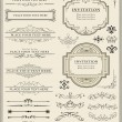 Vector illustration of calligraphic elements and p...