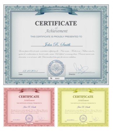 Illustration for Vector illustration of multicolored detailed certificates - Royalty Free Image