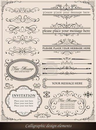 Illustration pour Illustration vectorielle d'éléments calligraphiques et décoration de page - image libre de droit