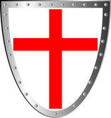 Shield with cross isolated on white background