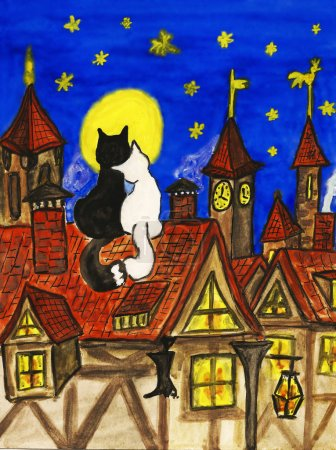 Photo for Picture - two cats siting on the roof in old town. Hand drawn painting, gouache. Can be used as St. Valentine's day postcard. - Royalty Free Image