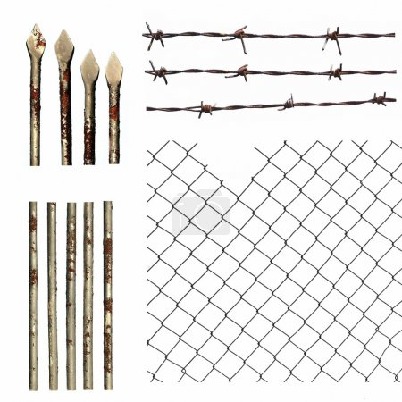 Set metal wire fence protection isolated on white for background texture