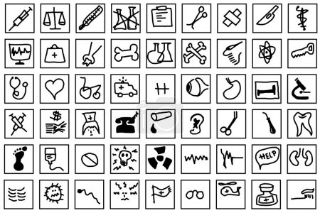 Simple art hand draw medical icons isolated on white background