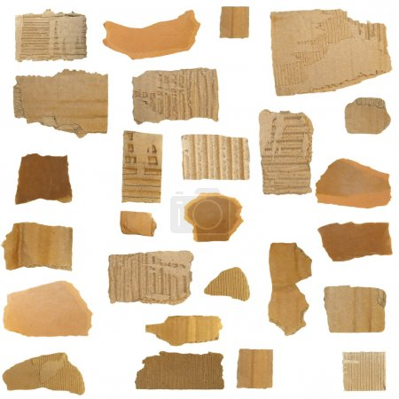 Set Cardboard Scraps isolated on white background