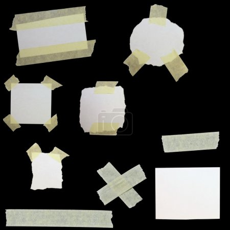 Photo for Set paper scraps and masking tape isolated on black background - Royalty Free Image