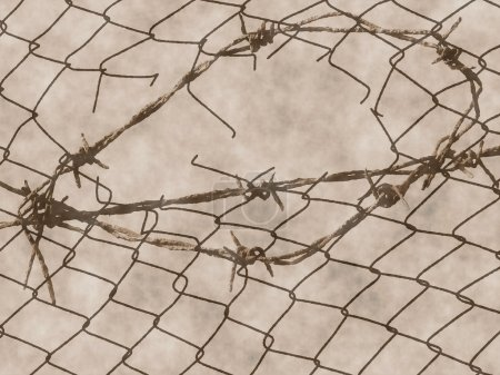 Old rusty barbed wire fence for texture