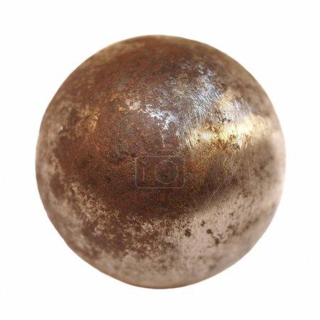 boule en métal fer isolé sur fond blanc