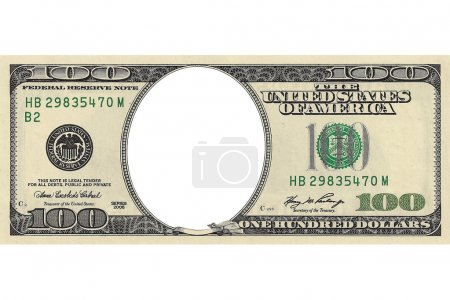Hundred dollar bill with a hole instead of a face