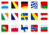 Set icon - flags of Bulgaria Norway Finland Poland Portugal Austria Romania Sweden France IrelandBelarus Greece Germany Luxembourg Belgium