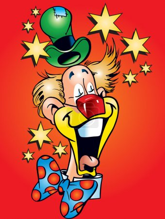 Illustration for This is jolly clown and many stars - Royalty Free Image