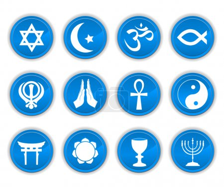 Photo for Religion icons blue - Royalty Free Image