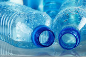 Polycarbonate plastic bottles of mineral water