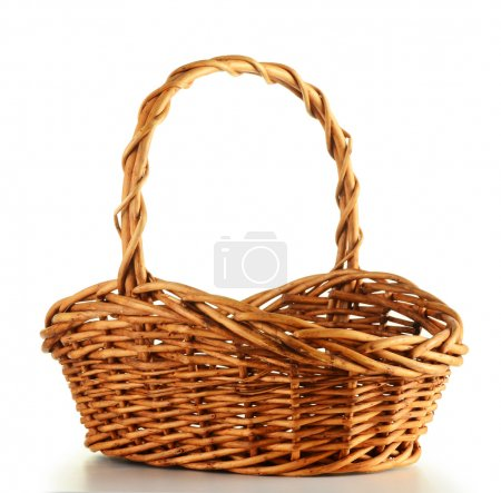 Empty wicker basket isolated on white...