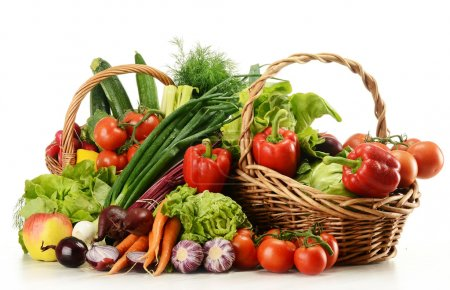 Photo for Composition with raw vegetables and wicker basket isolated on white - Royalty Free Image